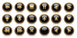 Botones negros y de oro Foto de archivo libre de regalías