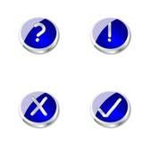 Botones o iconos azules del metal Foto de archivo