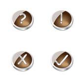 Botones o iconos marrones del metal Imagen de archivo libre de regalías