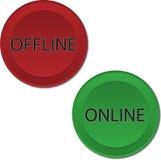 Botones off-line en línea Imágenes de archivo libres de regalías