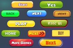 Botones para el ui móvil del detalle de los juegos stock de ilustración