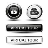 Botones para el viaje virtual, las etiquetas circulares blancos y negros con la cámara y los botones del rectángulo, diseño brill Fotos de archivo