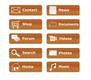 Botones para el Web site del menú Fotografía de archivo libre de regalías
