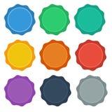 9 botones planos del sello/de la insignia del diseño del estilo Imágenes de archivo libres de regalías
