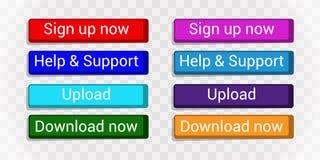 Botones planos multicolores para los sitios o canales fijados stock de ilustración