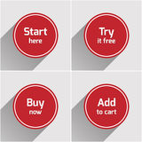 Botones planos redondos rojos del web fijados Imagen de archivo