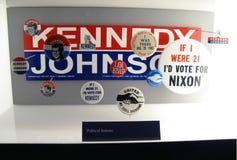 Botones políticos, museo del USMC fotos de archivo libres de regalías