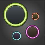 Botones que brillan intensamente coloridos en fondo oscuro ilustración del vector