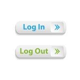Botones realistas del inicio de sesión y de la salida del sistema del web del vector Imagen de archivo libre de regalías