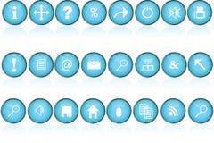 Botones redondos azules con los iconos para la PC Imagen de archivo