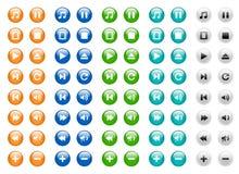 Botones redondos de los media fijados Fotografía de archivo libre de regalías