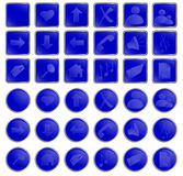 Botones redondos del vector y cuadrados azules del Web stock de ilustración
