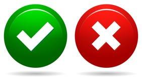 botones redondos del web de la señal y de la cruz ilustración del vector