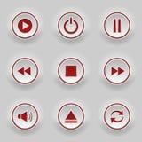 Botones redondos rojos para el jugador del web Fotos de archivo libres de regalías