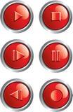 Botones rojos del jugador Foto de archivo libre de regalías