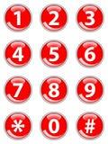 Botones rojos del teléfono Fotos de archivo libres de regalías