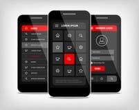 Botones rojos del ui de los teléfonos móviles Fotografía de archivo