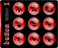 Botones rojos, diversos símbolos Foto de archivo libre de regalías