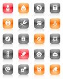Botones rojos y anaranjados misceláneos Foto de archivo