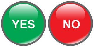 Botones sí-no Imagen de archivo