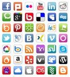 Botones sociales de la red fijados Fotografía de archivo libre de regalías