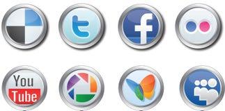 Botones sociales de los media Imágenes de archivo libres de regalías
