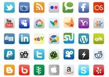 Botones sociales de los media Foto de archivo