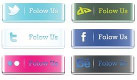 botones sociales de los media 3D stock de ilustración