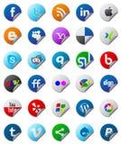 Botones sociales de los media fijados Fotos de archivo