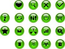 Botones verdes Imágenes de archivo libres de regalías