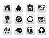 Botones verdes de la ecología fijados Fotos de archivo
