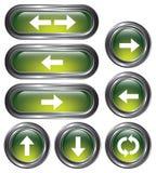 Botones verdes de la flecha stock de ilustración