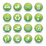 Botones verdes de los iconos del Web de la ecología. Fotos de archivo libres de regalías