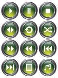 Botones verdes de los media ilustración del vector