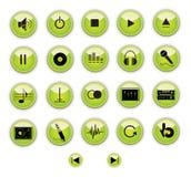 Botones verdes del control de la música Fotografía de archivo libre de regalías