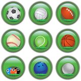 Botones verdes del deporte fotografía de archivo