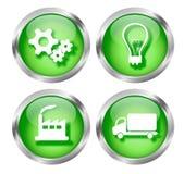 Botones verdes del icono del asunto Imagen de archivo libre de regalías