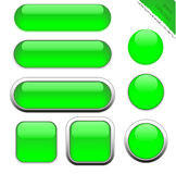 Botones verdes en blanco del web Imagen de archivo