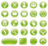 Botones verdes fijados. Imagen de archivo