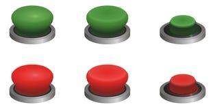 Botones verdes y rojos Imágenes de archivo libres de regalías