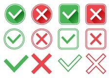 Botones verdes y rojos Ponga verde la marca de verificación y la Cruz Roja La derecha y mal Ilustración del vector ilustración del vector