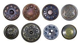 Botones viejos del metal con las estrellas fotografía de archivo