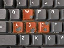 Botones WASD con los bordes ardientes Fotografía de archivo