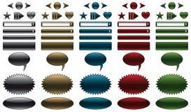 Botones y banderas del Web site ilustración del vector