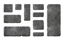 Botones y elementos de piedra realistas stock de ilustración