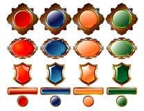 Botones y emblema coloreados del oro Foto de archivo libre de regalías