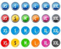 Botones y etiquetas engomadas del tamaño de la ropa Fotos de archivo