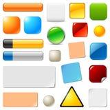 Botones y etiquetas engomadas en blanco del Web Foto de archivo libre de regalías