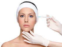 Botox eyes correction Royalty Free Stock Photography