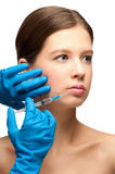 Botox injection to lips Royalty Free Stock Images